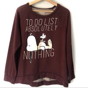 Peanuts To do list Nothing Crew Scoop Neck Sweater